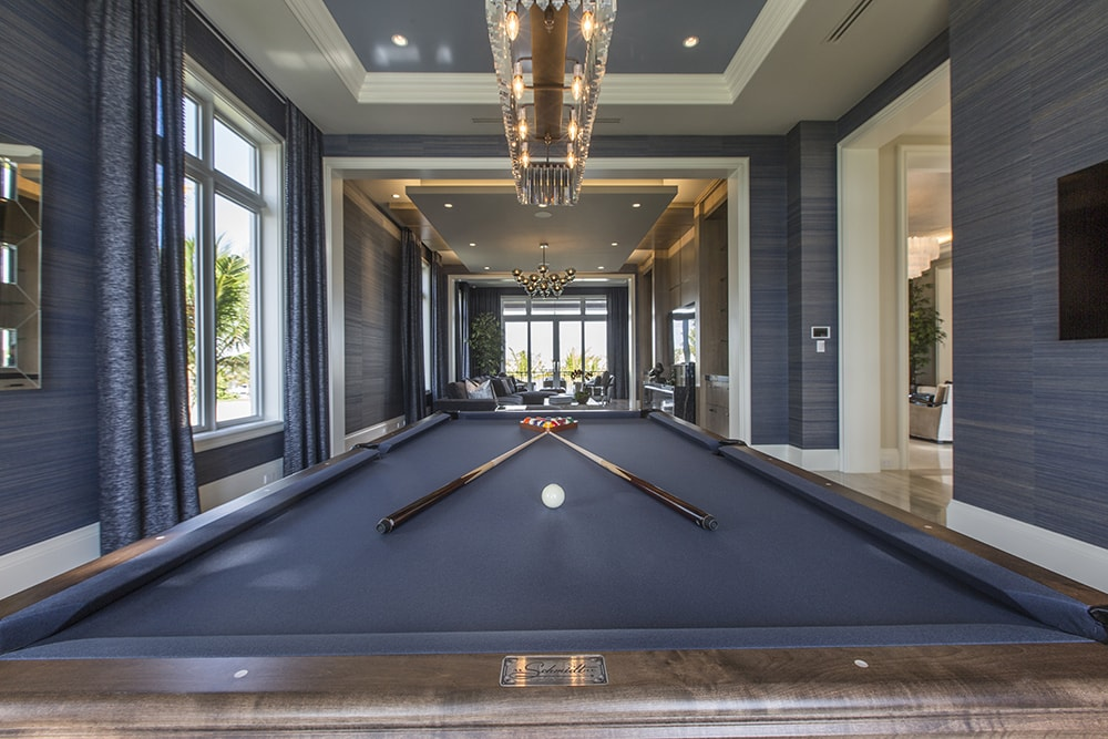 Billiard Room in South Florida Oceanfront Home